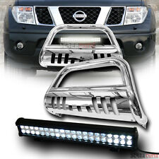 Chrome Bull Bar Grille Guard+120W Cree Led Light Lamp Fits 05+ Nissan Pathfinder