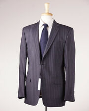 NWT $1295 VERSACE COLLECTION Charcoal Gray Stripe Wool-Blend Suit 44 R (Eu 54)