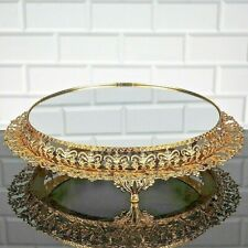 """Glass Cake Stand with mirror, Turkish, gold silver metal Handmade round 13"""" gift"""