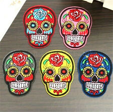 Punk Skull Flower Iron On Applique Embroidered Sewing Patch Sticker 1pc ☆