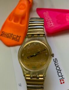 1989 Rare Vintage Swatch Watch Gold metal Band