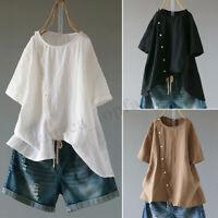Plus Women Short Sleeve Round Neck T-Shirt Tops Tee Shirt Blouse Plus Asym Tops