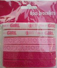 Breast Cancer Awareness Bracelets Silicone 6/Pk