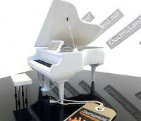 Mini pianoforte Bianco miniatura 15 cm da collezione piano legno music classica