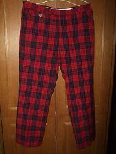 mint c. Stromberg mens golf trousers Waist 36'' Regular black red plaid check