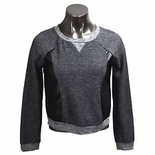 Mustard Seed Juniors Womens Gray Black Long Sleeve Top Blouse Faux Leather Small
