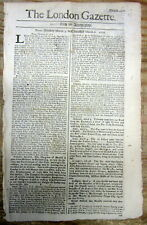1706 London newspaper COLONIAL AMERICA reacts to the BATTLE OF RAMILLIES victory