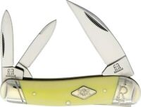 Rough Rider RR1741 Carbon Yellow SwayBack 3 Blade Folding Pocket Knife