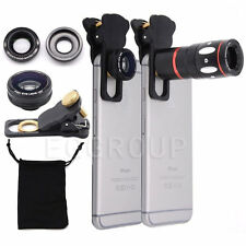 10X Zoom Telephoto Fish Eye+Wide Angle+Micro Clip-On Camera Lens For Smartphone
