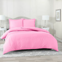 Duvet Cover Set Soft Brushed Comforter Cover W/Pillow Sham, Light Pink - Twin