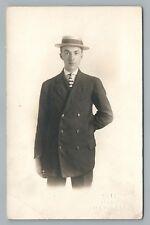 """Boater Hat Boy RPPC """"Cute"""" Studio COLUMBUS OHIO Striped Tie Fashion 1910s"""