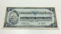 1961 Canadian Tire 3 Three Cents CTC-S1-A Circulated Money Banknote D185