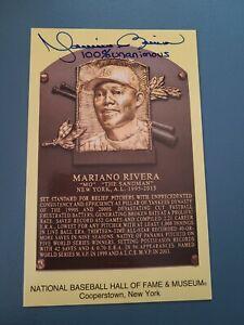 Mariano Rivera Unanimous YANKEES Autographed Yellow Baseball HOF Postcard RARE