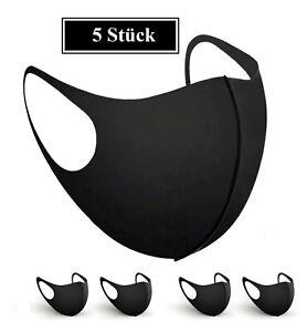 5x Mund-Nasen-Maske Gesichtsmaske waschbar wiederverwendbar Behelfsmaske Schwarz