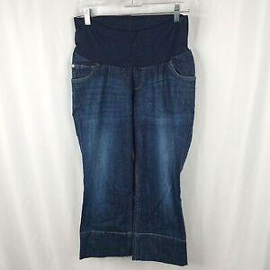 Motherhood Maternity Jeans Womens Large Dark Blue Stretch Crop Capris Denim