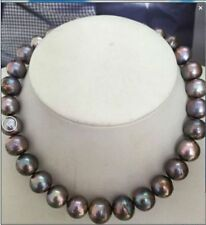 HUGE 13-15MM NATURAL SOUTH SEA GENUINE BLACK MULTICOLOR NUCLEAR PEARL NECKLACE