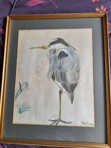 """""""naive"""" pencil drawing of a Heron - unknown artist."""