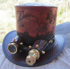 BROWN LEATHER HAND MADE STEAMPUNK / VICTORIAN / GOTHIC TOP HAT / AVIATOR GOGGLES