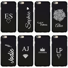 HAIRYWORM PERSONALISED INITIALS BLACK SILICONE GEL PHONE CASE FOR APPLE IPHONE