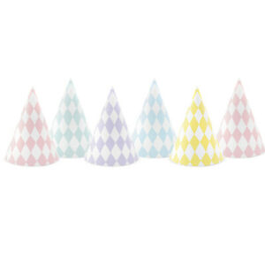 6 Assorted Pastel Harlequin Card Party Hats for Unicorn Wish Parties