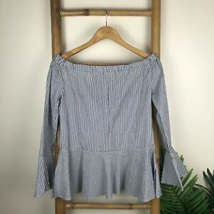 Seed Blouse Size 8 Off Shoulder Blue White Stripes Office Casual Sexy 100% Cotto