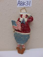 CHRISTMAS TREE ORNAMENT FOLK COUNTRY AMERICAN FLAG RAGGEDY ANDY RARE