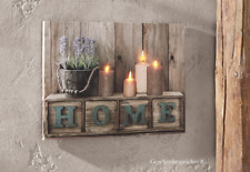 LEINWAND WANDBILD DEKO BILD HOME SWEET HOME KEILRAHMEN LED KERZENSCHEIN 40 x 30
