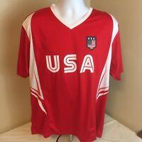 Rhinox Mens Soccer Futball Jersey XL Team USA Red White Free Shipping