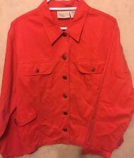 Women's Susan Bristol Casuals 100% Cotton Orange Jacket Long Sleeve Size XL (B1)