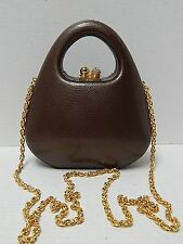 Rodo Italy Brown Reptile Embossed Leather Rhinestone Hard Evening Bag Gold Chain