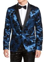 INC Mens Blazer Blue Size XL Stain Flocked Floral Slim-Fit Shawl-Collar $149 046