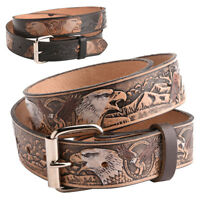 "Mens Full Leather 1.5"" (40mm) Full Leather Eagle Pattern Buckle Strap Belt Black"