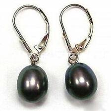 Pretty! Black Akoya Cultured Pearl Earring AAA 8-9MM