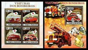Sao Tome 2006 MNH MS+SS, Gold Foil, Embossed Odd, Fire Engines, Red Cross