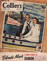 1945 Colliers August 4-Faith Baldwin; Damon Runyon;Nazi Doctors; Reds in Cuba