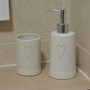 Set of Heart Ceramic Soap Dispenser Tooth Brush Tumbler Toilet Storage Holder