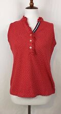 Lands' End Red/White Polka Dot Ruffled Collar Sleeveless Shirt Women Size Small