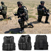 Tactical Military Vest Swat Airsoft Molle Combat Assault Plate Carrier Gear CHIC