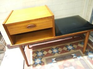 Retro Vintage Mid Century Chiswell Teak Telephone Table with Seat  Modern 1960s