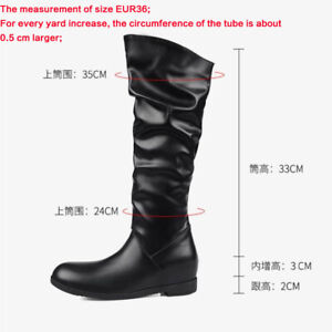 Womens Pleated Boots Pull On Knee High Riding Boots Flats Combat Hiking Boots Sz