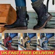 LADIES WOMENS WINTER MID CALF LACE UP KNITTED LOW FLAT HEEL SHOES BOOTS SIZE UK