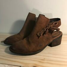 Born ankle boots with lace up side and tassels, size 8