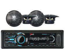 "Marine BOSS AUX USB Bluetooth AM FM iPod Mp3 Radio & 4 Black 4"" Marine Speakers"