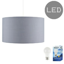 Large Drum Cotton Light Shades Lampshades Easy Fit Cream Black Grey Beige + Bulb