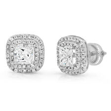 2.71CT Princess Cut Halo SOLITAIRE Double HALO STUD EARRINGS 14K White GOLD