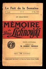 MÉMOIRE DU PRINCE LICHNOWSKI - 1918