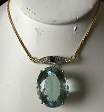 Huge VVS 46ct Aquamarine, Edwardian platinum, sapphire diamond 14k gold necklace