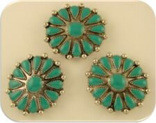 Faux Turquoise Flower Beads / Pendants Concho Ovals Silver 2 Hole Sliders QTY 3