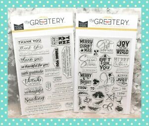 ❤ The Greetery Sentiment Suite Thank You & Christmas Sentiments Stamp Sets ❤