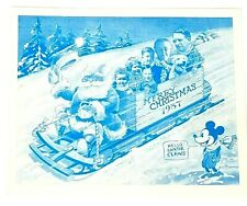 "1937 Disney Christmas Card Mickey Mouse ""Hello Santie Claws"" Sled Riding Crate"